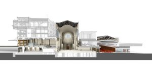 Cross-section of renovations to 1912 former train station for the Senate of Canada. Image: Diamond and Schmitt/KWC Architects.