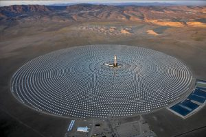 SolarReserve's Crescent Dunes concentrated solar plant in the Nevada desert. (c) 2016 Solar Reserve.