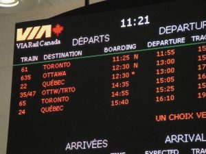 Montreal Departures board. Photo: BP/CCE.
