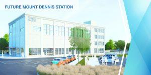 Rendering of Mount Dennis Station, Eglinton Crosstown LRT, Toronto. Image: Metrolinx.