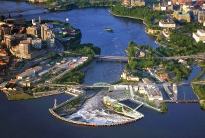 Chaudiere Falls site with new green space on roof of new underground generating station superimposed on photo. Image: Energy Ottawa