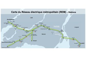 Map of stations on CDPQ proposed electric rapid transit network in Montreal area.