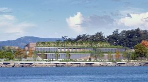 Artist's rendering of proposed wastewater treatment plant at McLoughlin Point, Esquimalt, B.C.