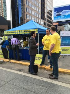 OSPE meets and greets on the corner of Bloor and Church Streets in downtown Toronto, September 20.