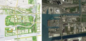 Aerial view of the existing conditions (right) and rendering of the proposed naturalization and flood protection for the Port Lands in downtown Toronto.