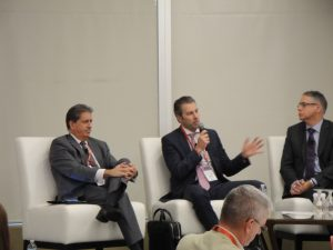 Bob Gomes of Stantec, Alexandre L'Heureux of WSP, and the Hon. Perrin Beatty, part of a panel at the ACEC national leadership conference in Ottawa, October 24.