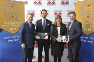 CCPPP award-winners for the Southwest Calgary Ring Road. Left to right: John McArthur, president and CEO of Kiewit Canada Development Corporation and Alex Guna, VP of Kiewit accepting on behalf of Mountainview Partners Consortium; Elizabeth Hivon of Canada Meridiam; Landon Reppert, executive director for major capital projects with Alberta Transportation.