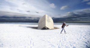 Winter Station 2016 Steam Canoe, designed by OCAD. 2016 Ontario Wood Award Winner.