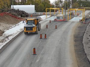 First truckload of low-level radioactive waste passing through the vehicle weigh scale at Port Granby, Ontario. Photo: Port Hope Area Initiative (PHAI).