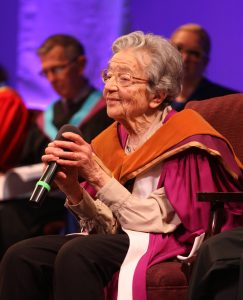Ursula Franklin giving a speech. Photo courtesy Martin Franklin/Ursula Franklin Academy.