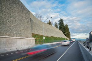 Low Level Road project, Vancouver, showing multi-tiered retaining walls. Image: Stantec.