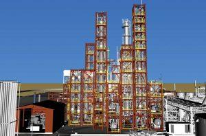 Graphic representation of the Enerkem Alberta Biofuels plant, Edmonton. Image: BBA.