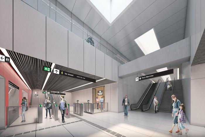 Escalators at Toronto Finch West LRT station